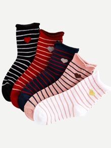 Heart Detail Striped Socks 5pairs