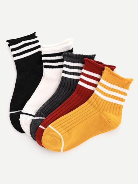 Varsity Striped Crew Socks - 5 Pairs