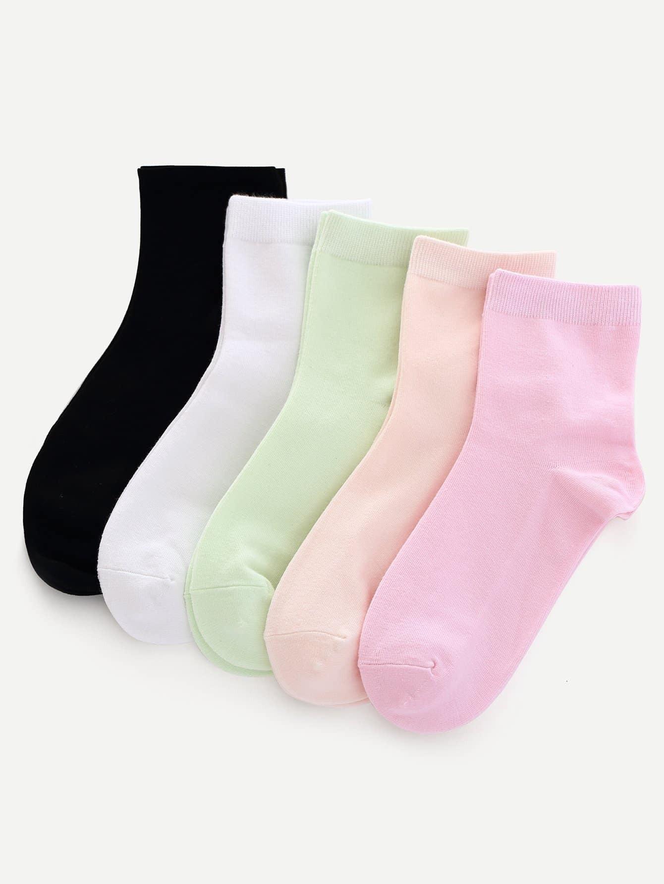 Einfarbige Socken 5 Paare