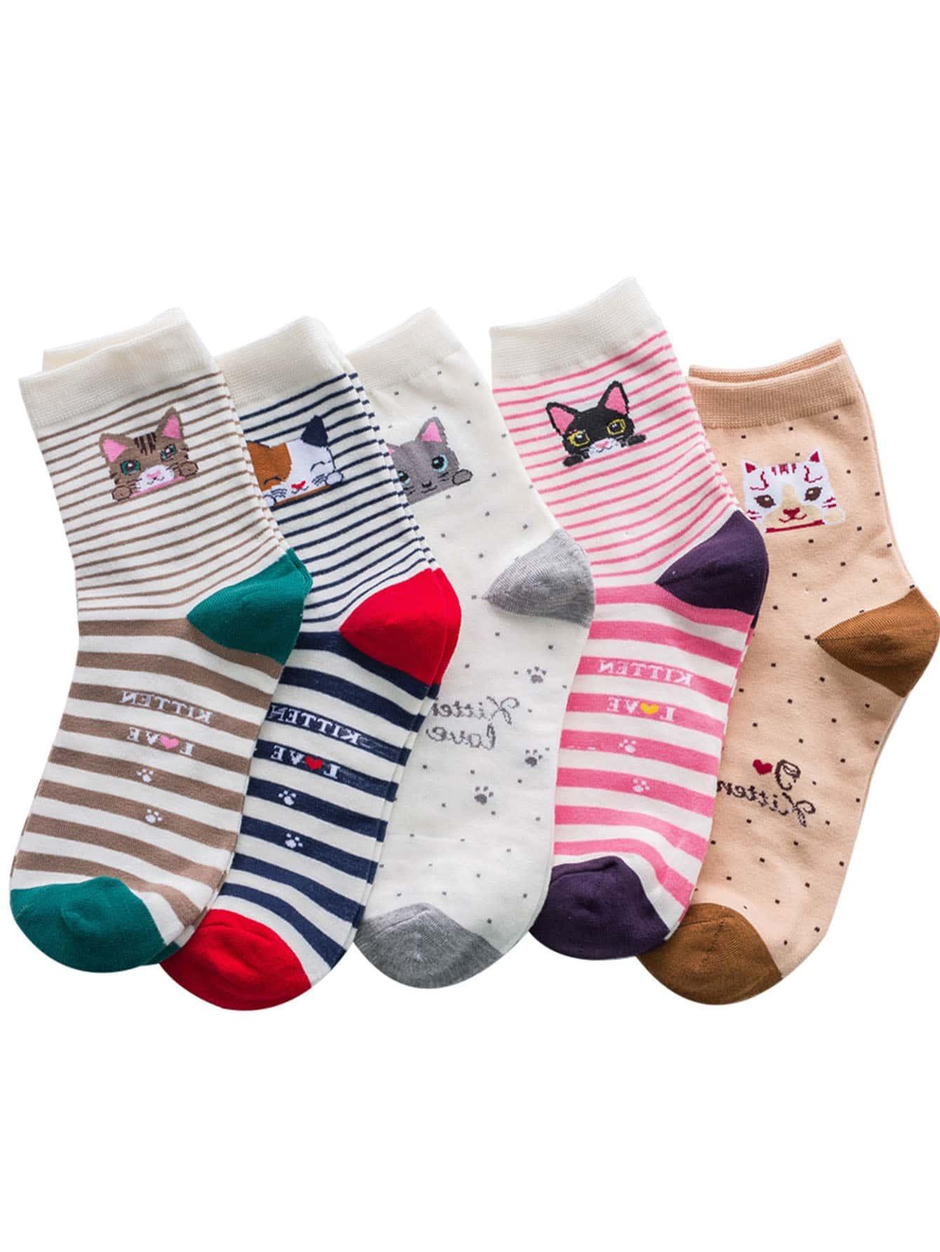 Tiermuster Socken 5 Paare