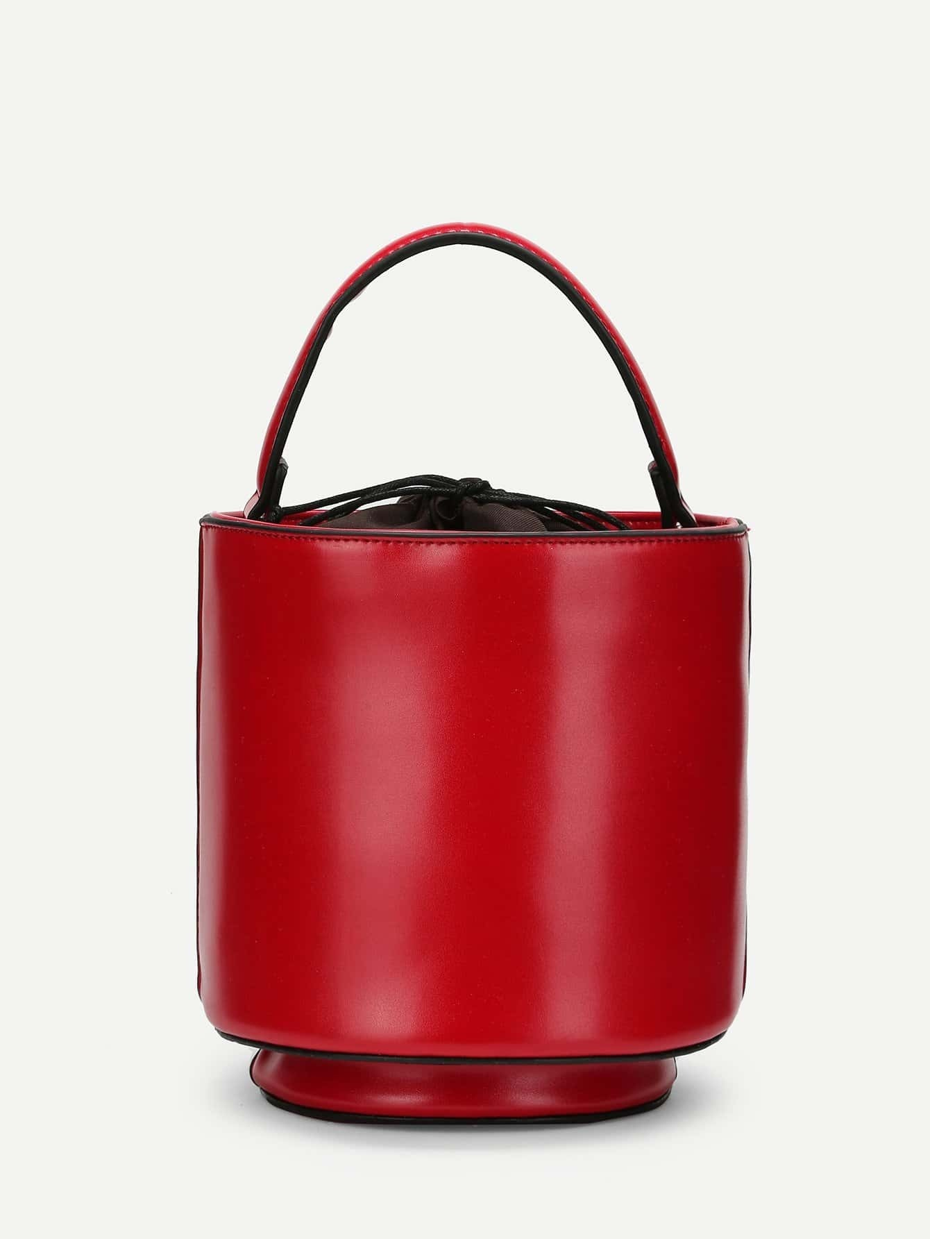 Piping Detail PU Bucket Bag tassel detail bucket bag