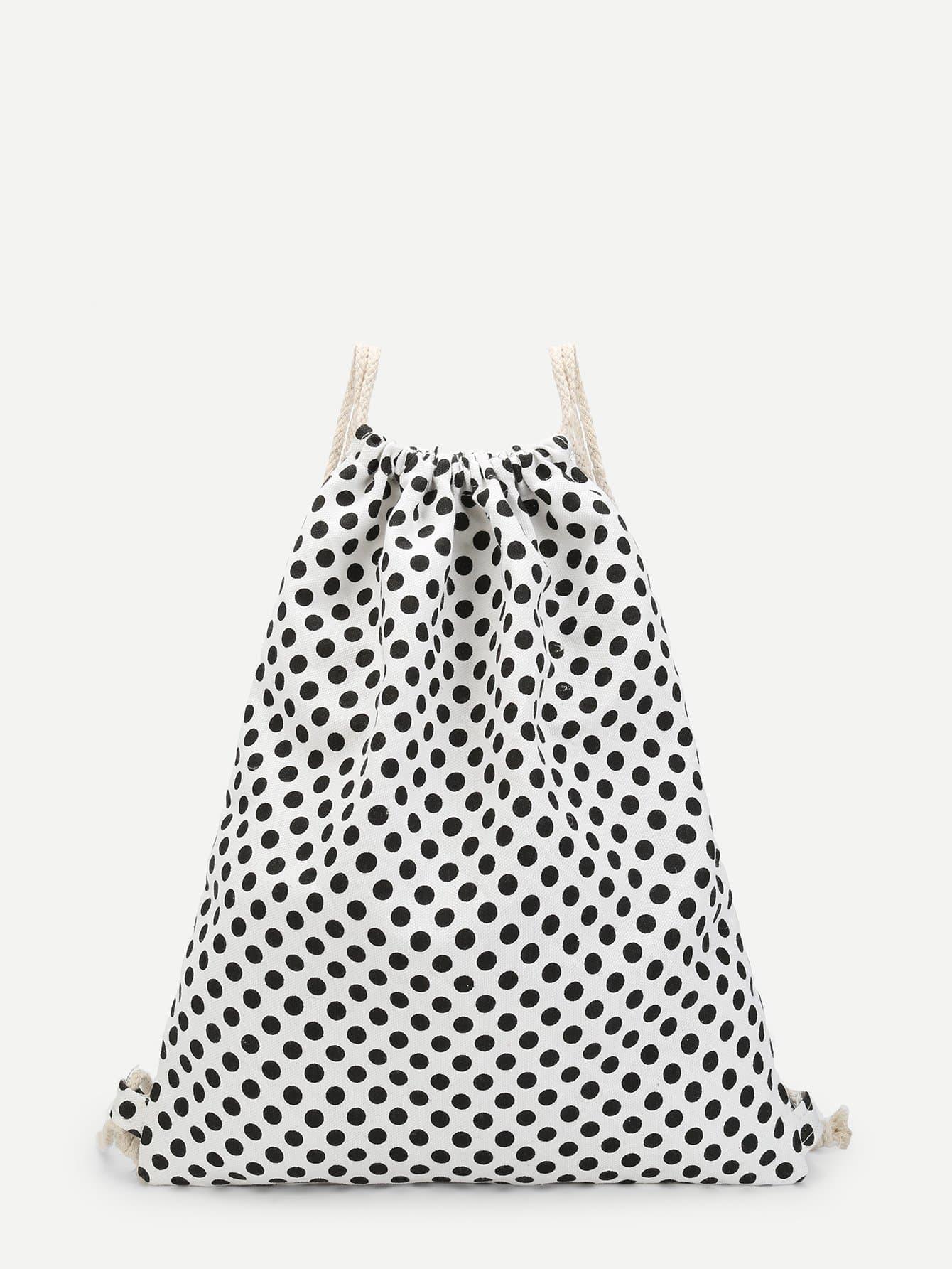 Polka Dot Print Drawstring Backpack polka dot backpack