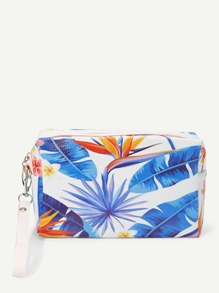 Leaf Print Makeup Bag