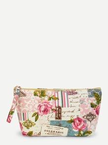 Flower Print Makeup Bag