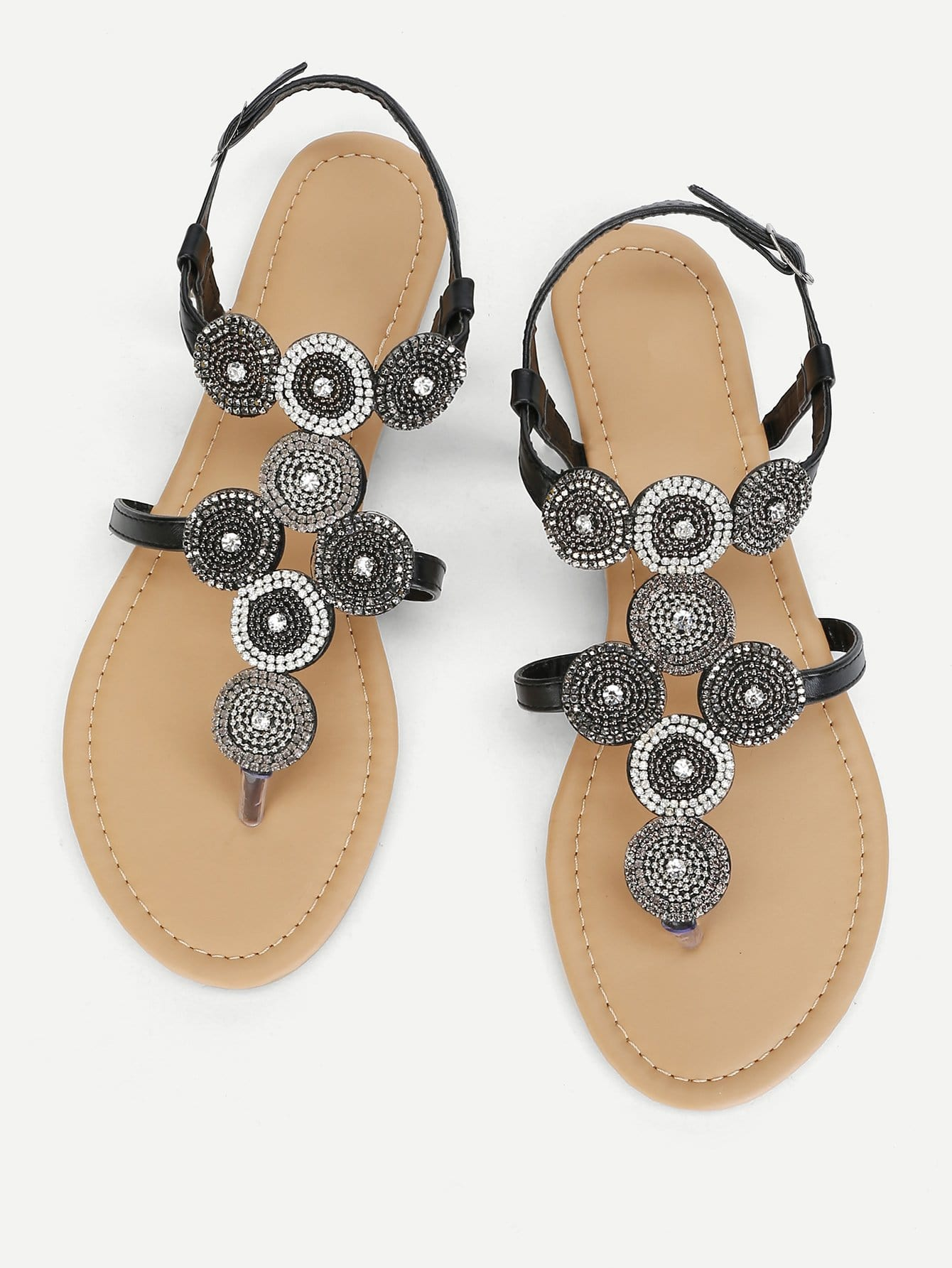 Rhinestone Detail Toe Post Sandals rhinestone detail strappy sandals
