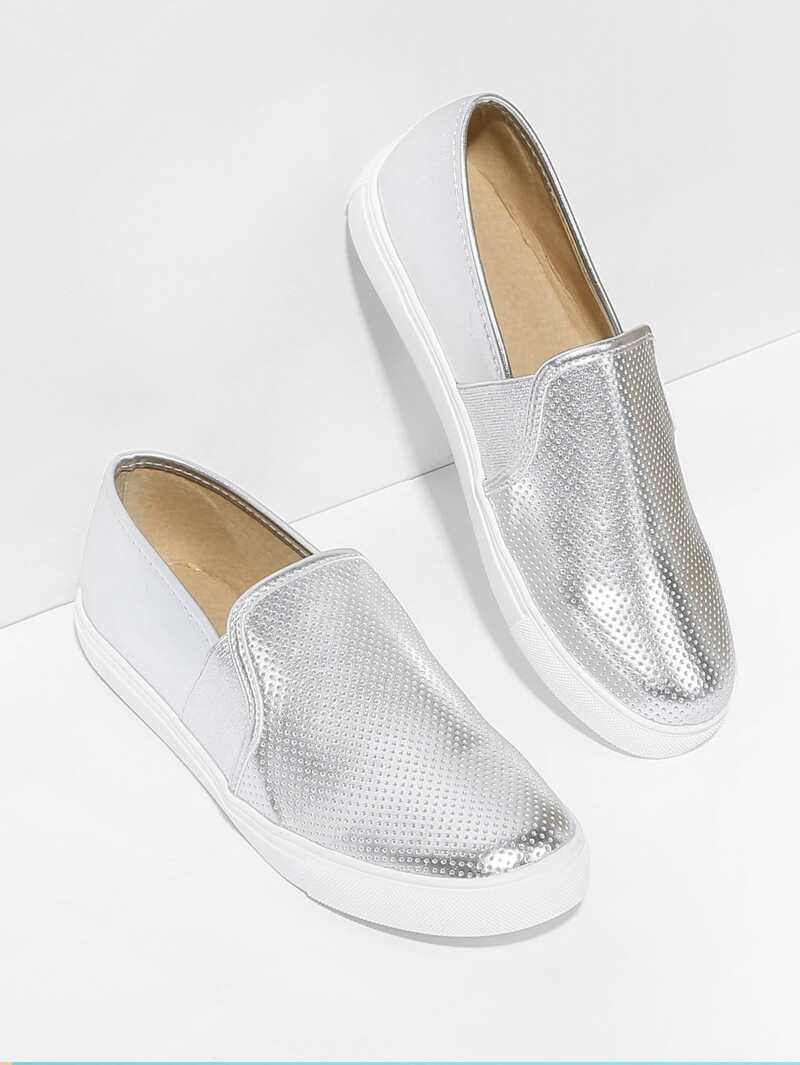 Round Toe Low Top PU Sneakers, Silver