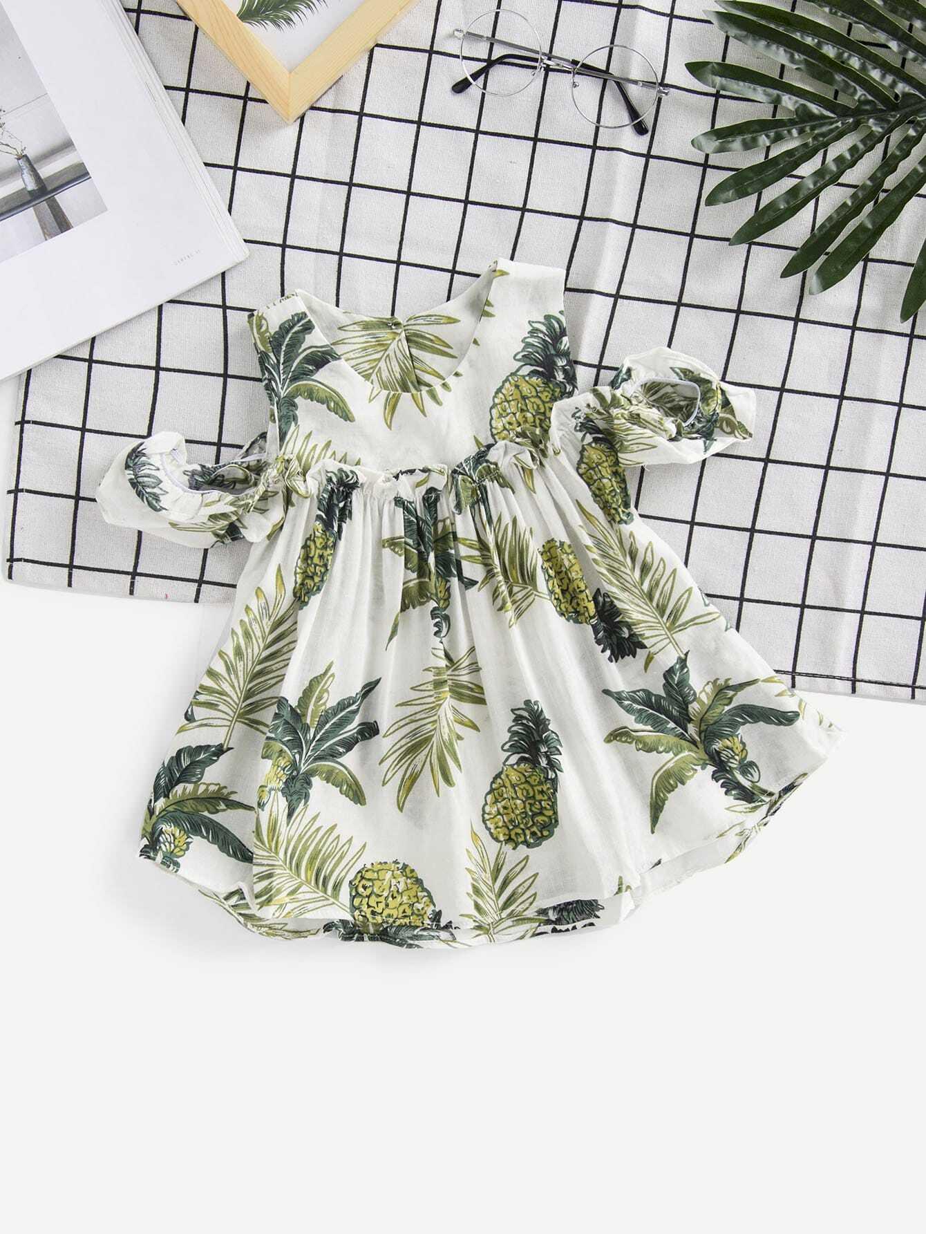 Girls Pineapple Print Open Shoulder Dress