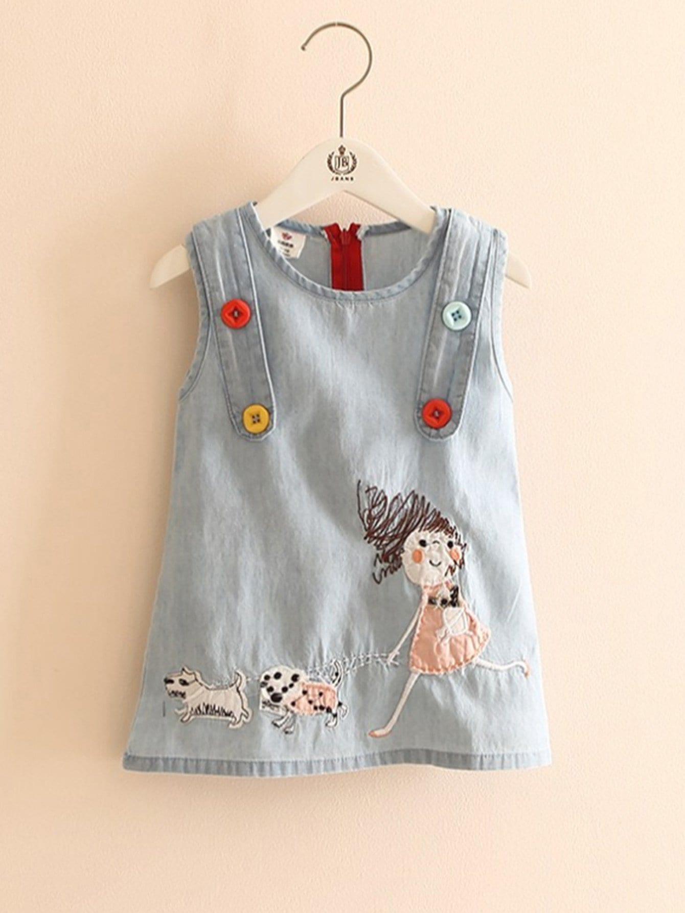 Купить Платье с рисунком вышитой девушки и случайных цветных пуговиц для девочки, null, SheIn
