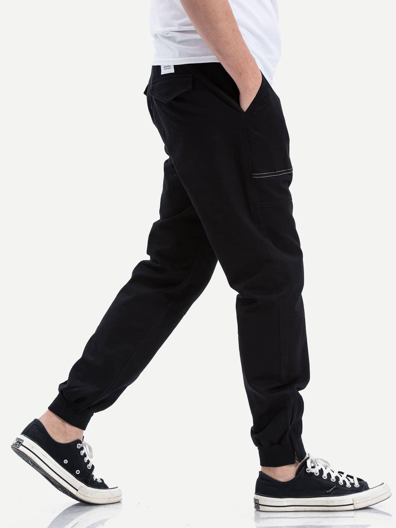 Men Pocket Detail Drawstring Waist Solid Pants solid drawstring detail tee