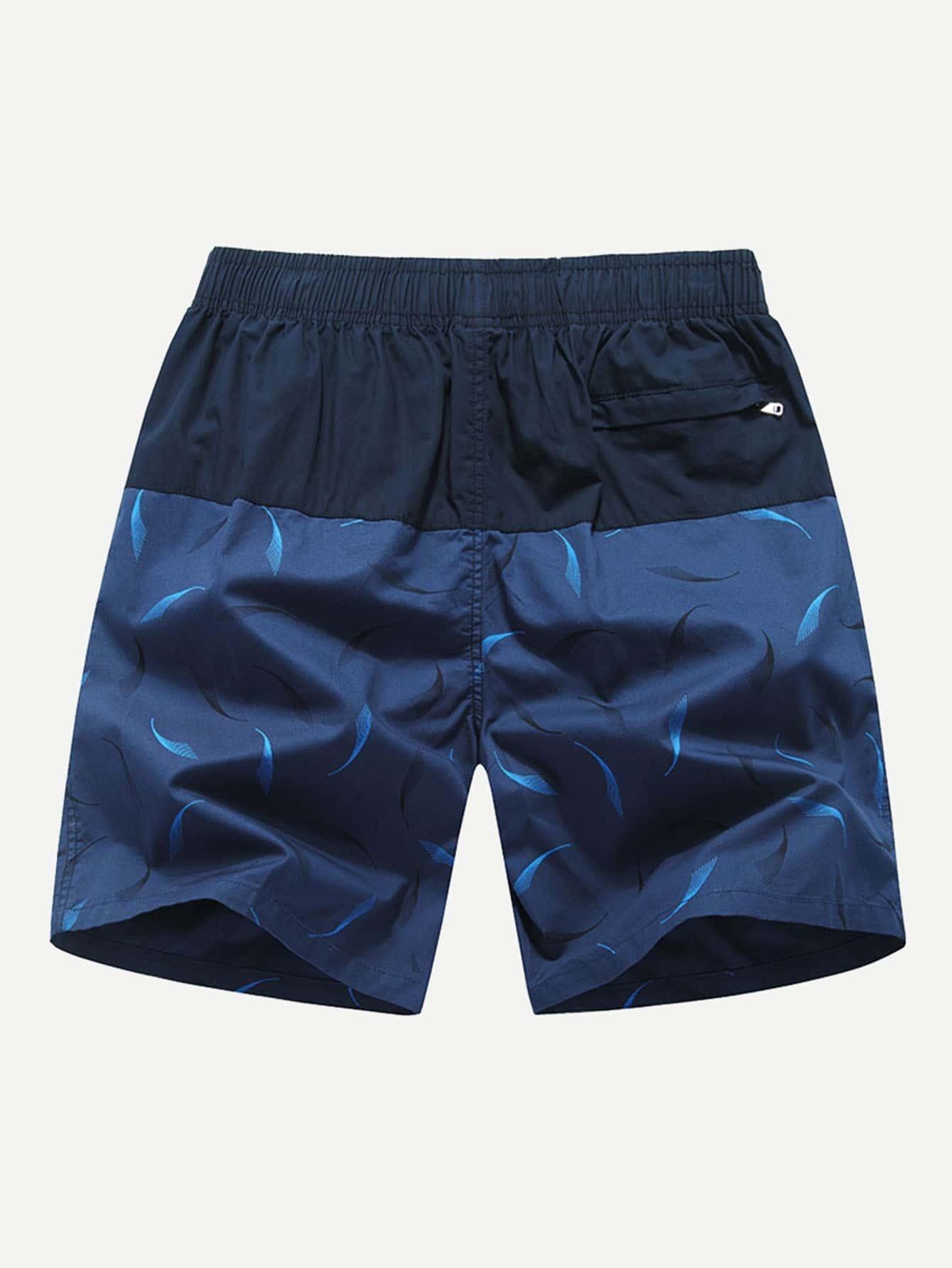 Men Feather Print Color Block Drawstring Waist Shorts stylish drawstring color block pattern print shorts for boy