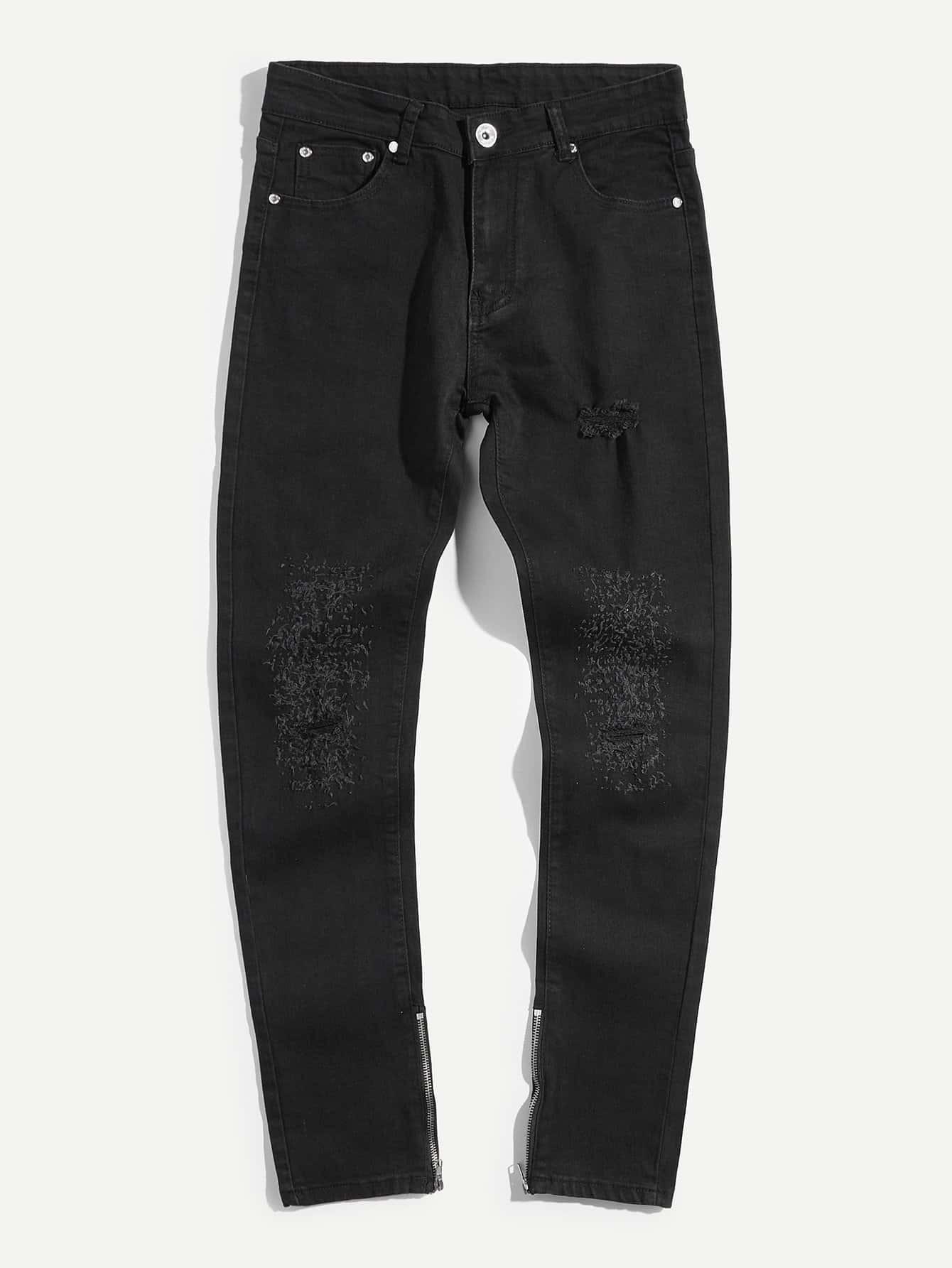 Men Zip Decoration Destroyed Skinny Jeans men zip decoration skinny camo jeans