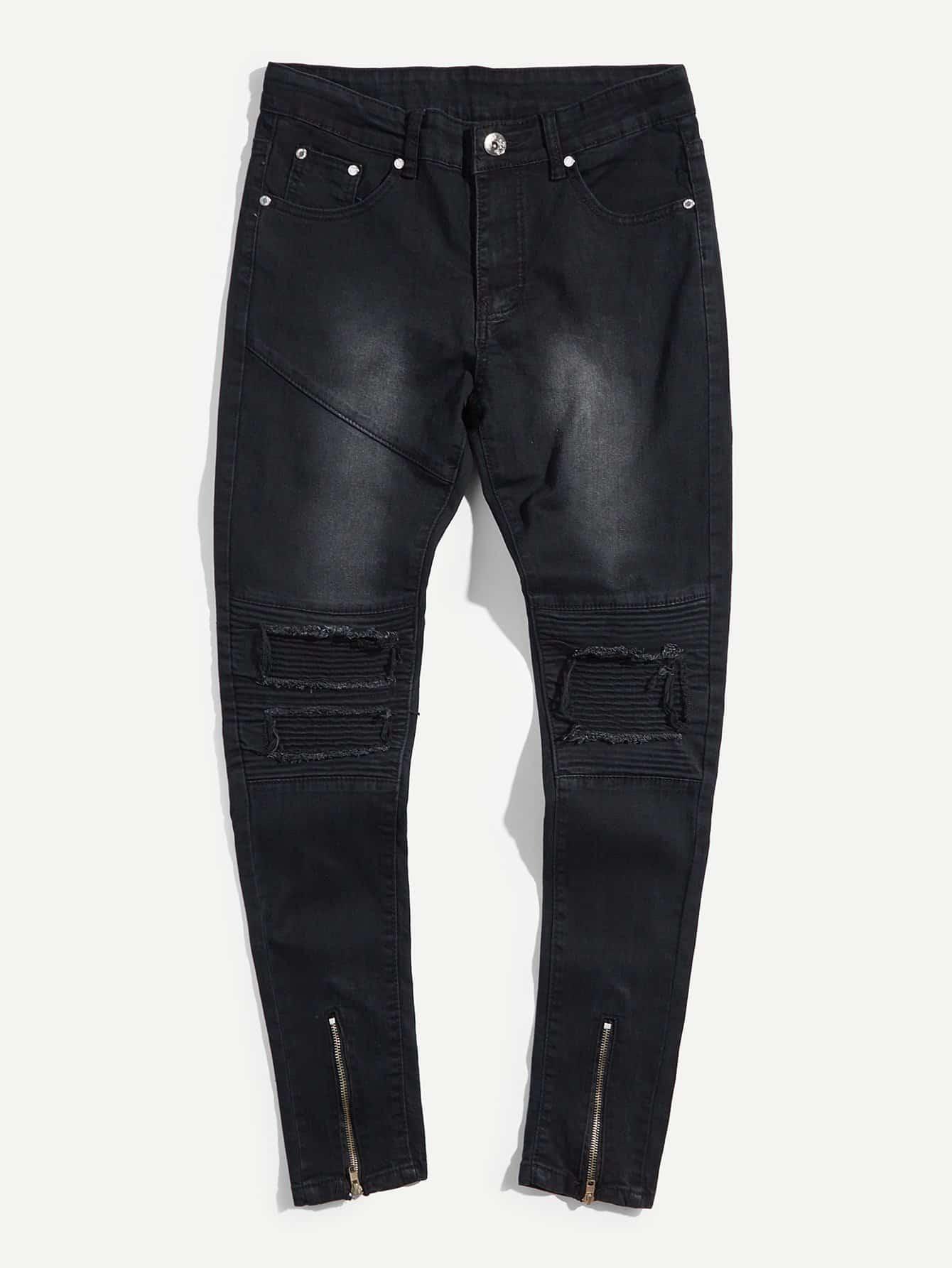 Men Zip Decoration Destroyed Skinny Jeans destroyed skinny jeans