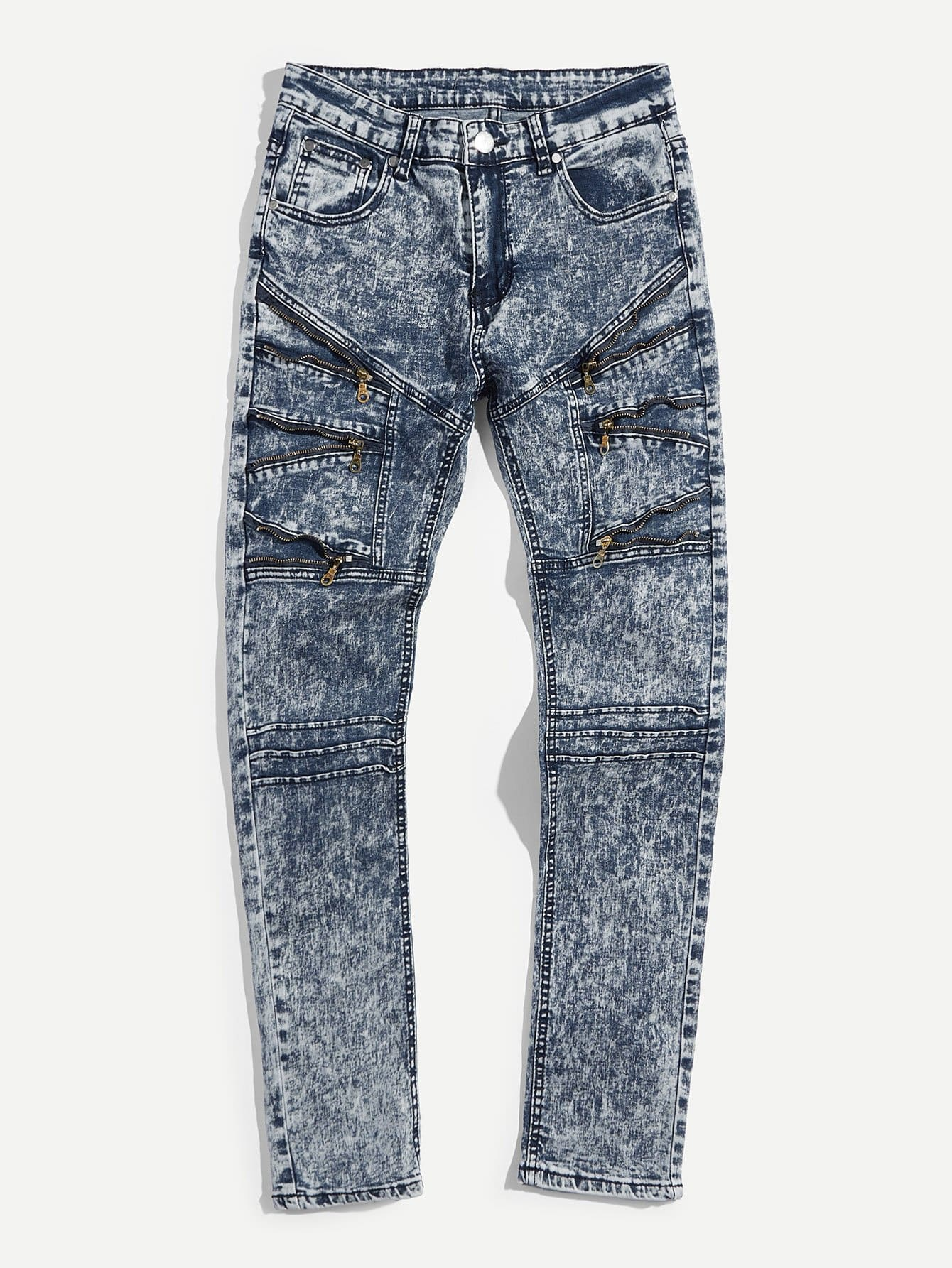 Men Zip Decoration Tie Dye Skinny Jeans men zip decoration skinny camo jeans