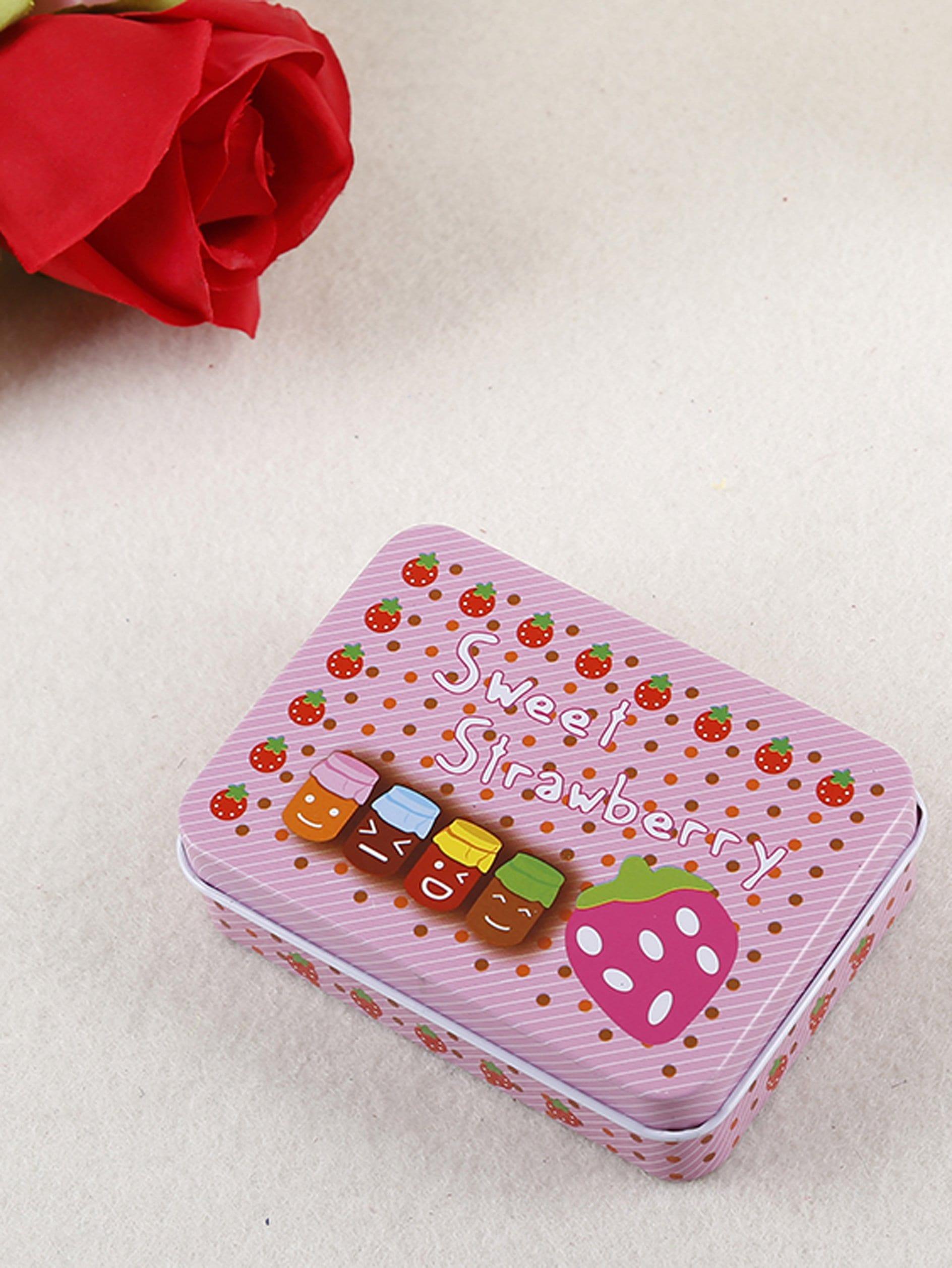 Strawberry Print Tin Box strawberry print pencil case