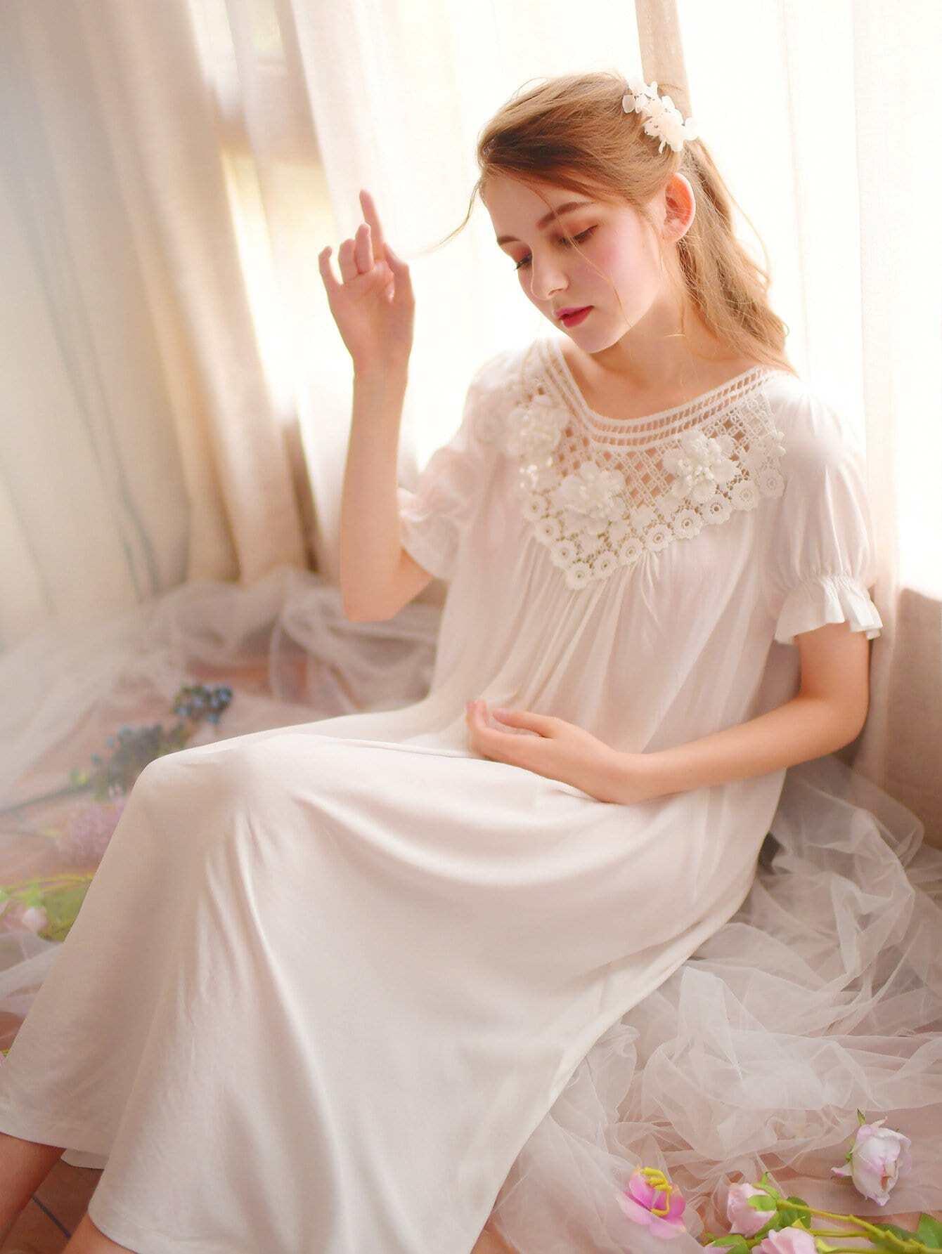 Cut Out Crochet Applique Night Dress mesh see through cut out crochet tights
