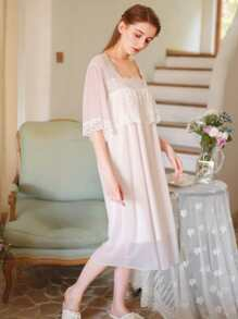 Floral Lace Mesh Night Dress