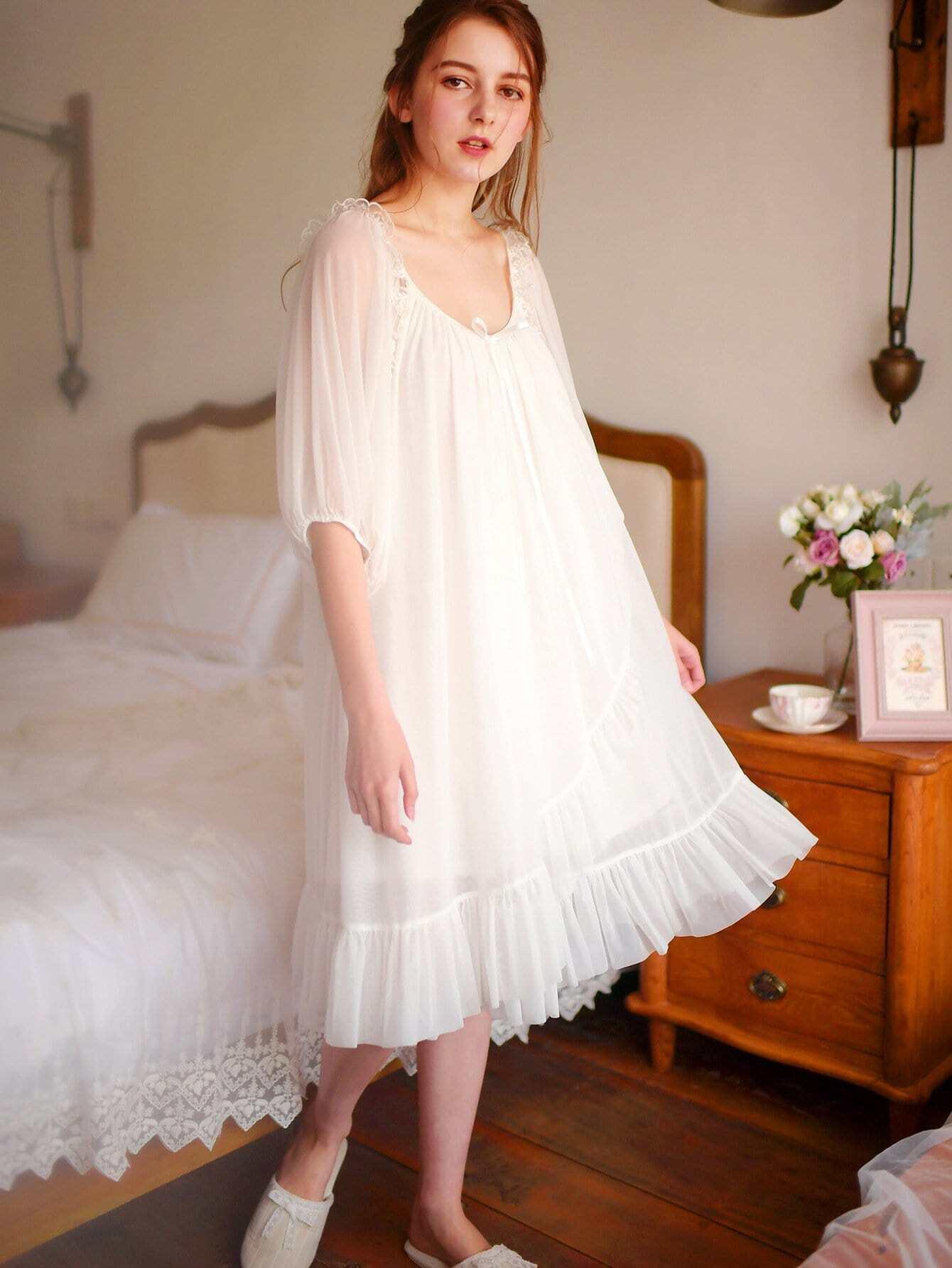 Ruffle Hem Mesh Night Dress ruffle mesh panel dress