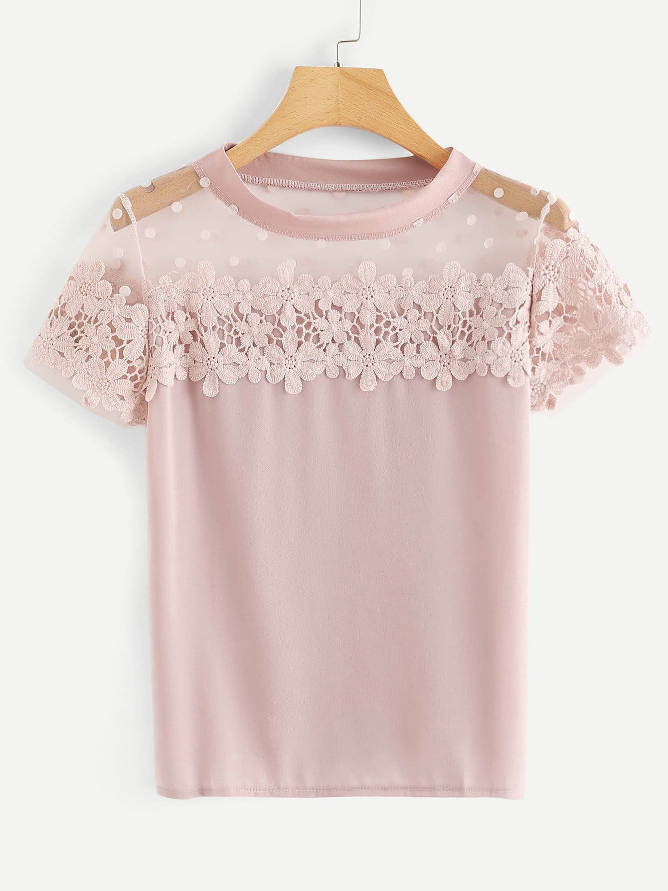 Lace Panel Sheer Top
