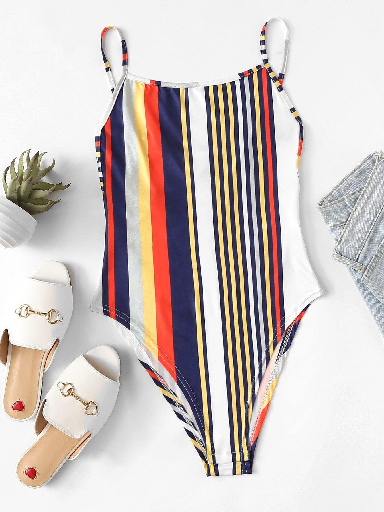 Knot Back Striped Bodysuit цена
