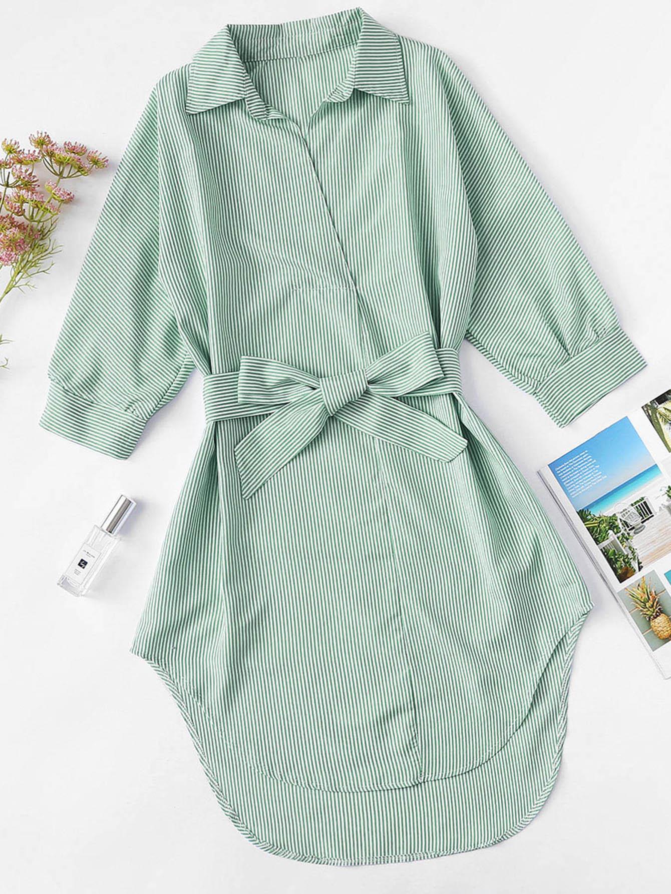 Asymmetrische Bluse Kleid mit gekrümmtem Saum