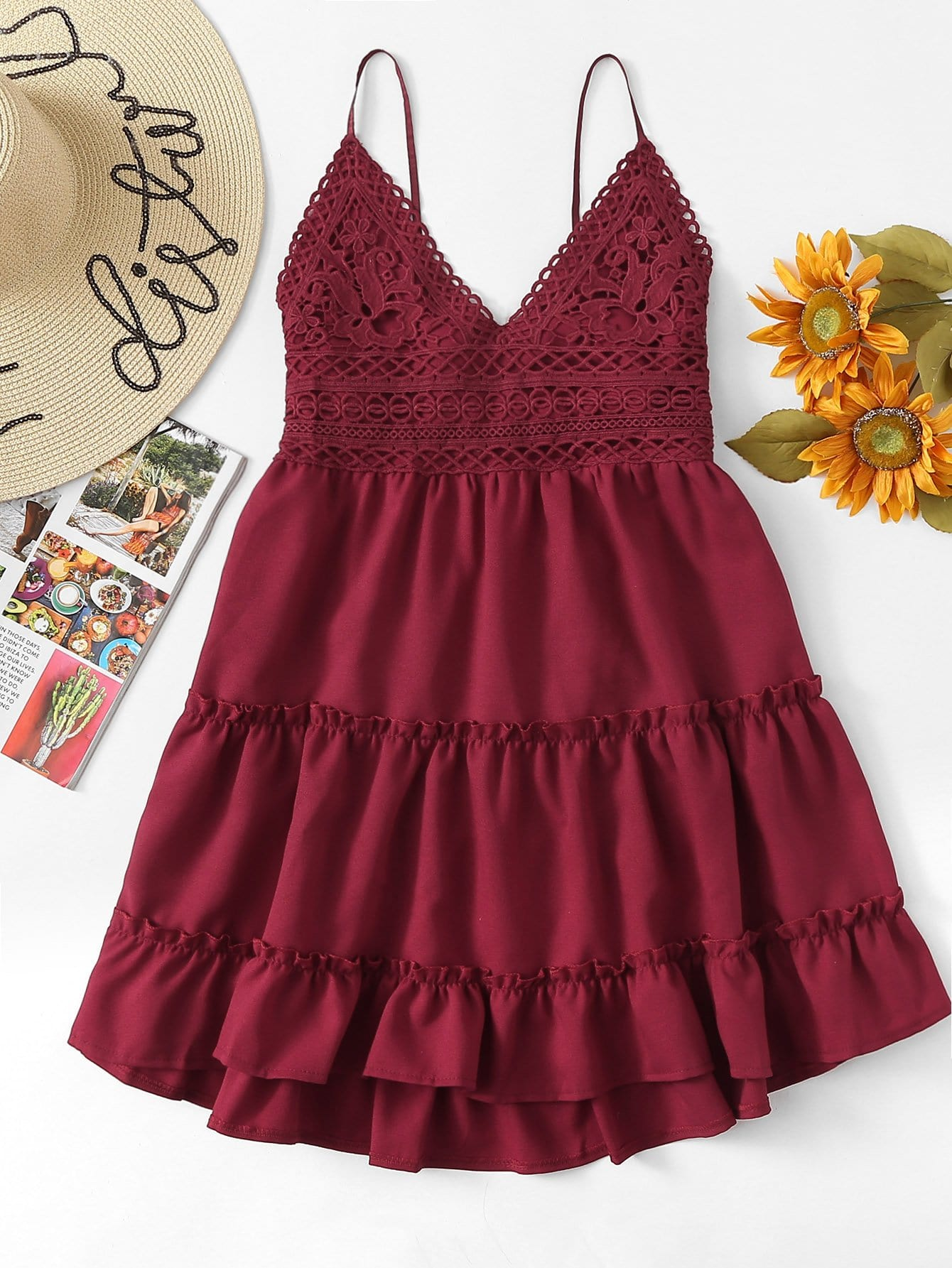 Contrast Lace Knot Back Ruffle Hem Cami Dress