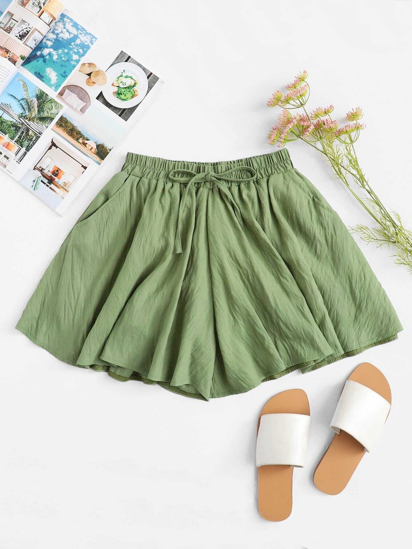 Solid Drawstring Waist Shorts