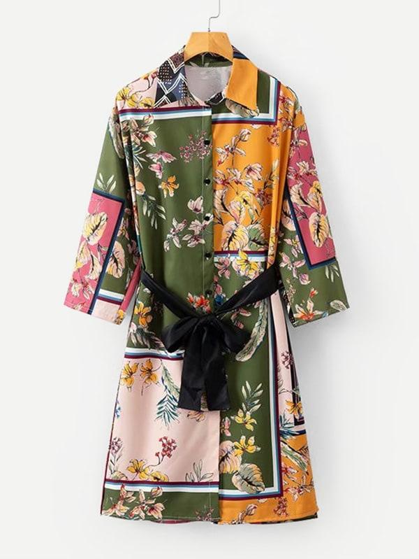 All Over Florals Belted Shirt Dress men all over florals shirt