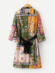 All Over Florals Belted Shirt Dress
