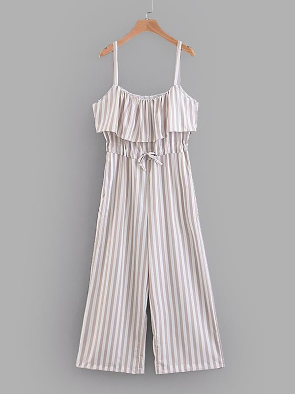 Contrast Stripe Ruffle Layered Wide Leg Jumpsuit contrast halter and binding layered ruffle bodice jumpsuit