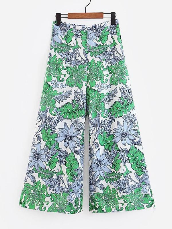 Foliage Print Culotte Pants spot culotte pants