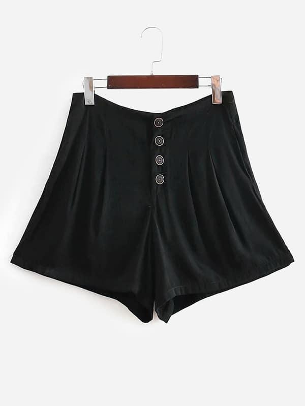 Button Front High Waist Shorts black high waist shorts