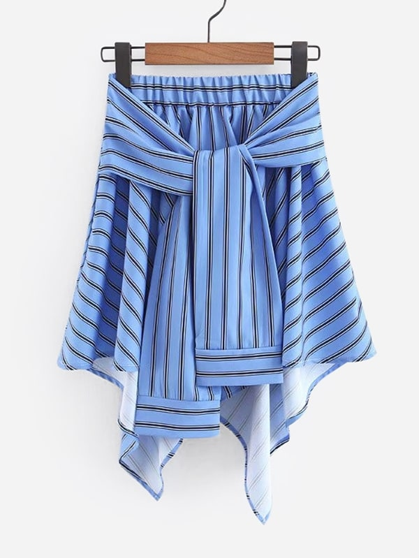 Tie Front Asymmetric Hem Skirt asymmetric hem spot skirt