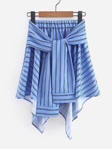 Tie Front Asymmetric Hem Skirt