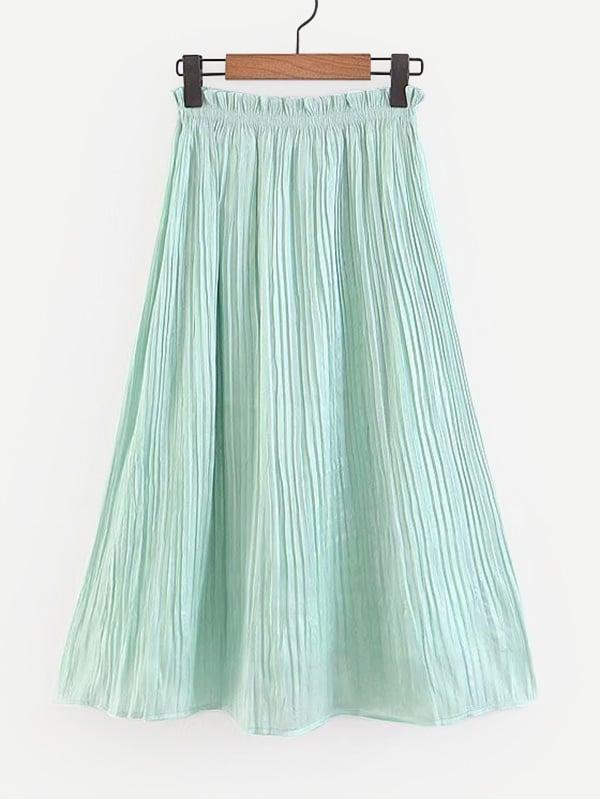 Frill Trim Pleated Skirt