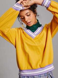 Contrast Striped Trim Wide Hem Sweatshirt