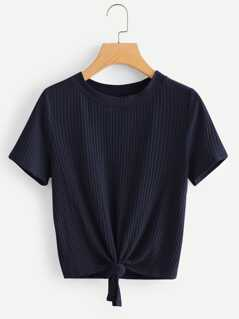 Knot Front Solid Ribbed Tee
