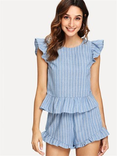 Vertical Striped Ruffle Top & Shorts Set