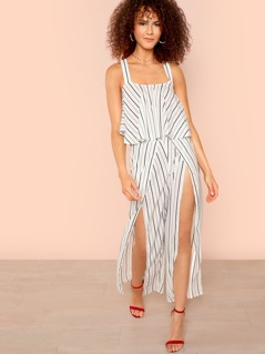 Flowy Striped Crop Top & Wrap Slit Pants Set