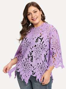 Plus Solid Crochet Lace Sheer Top