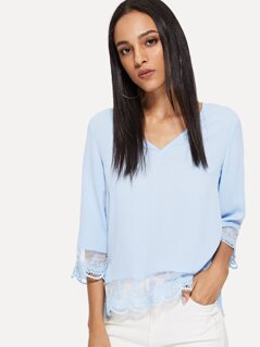 Solid Sheer Guipure Lace Trim Top