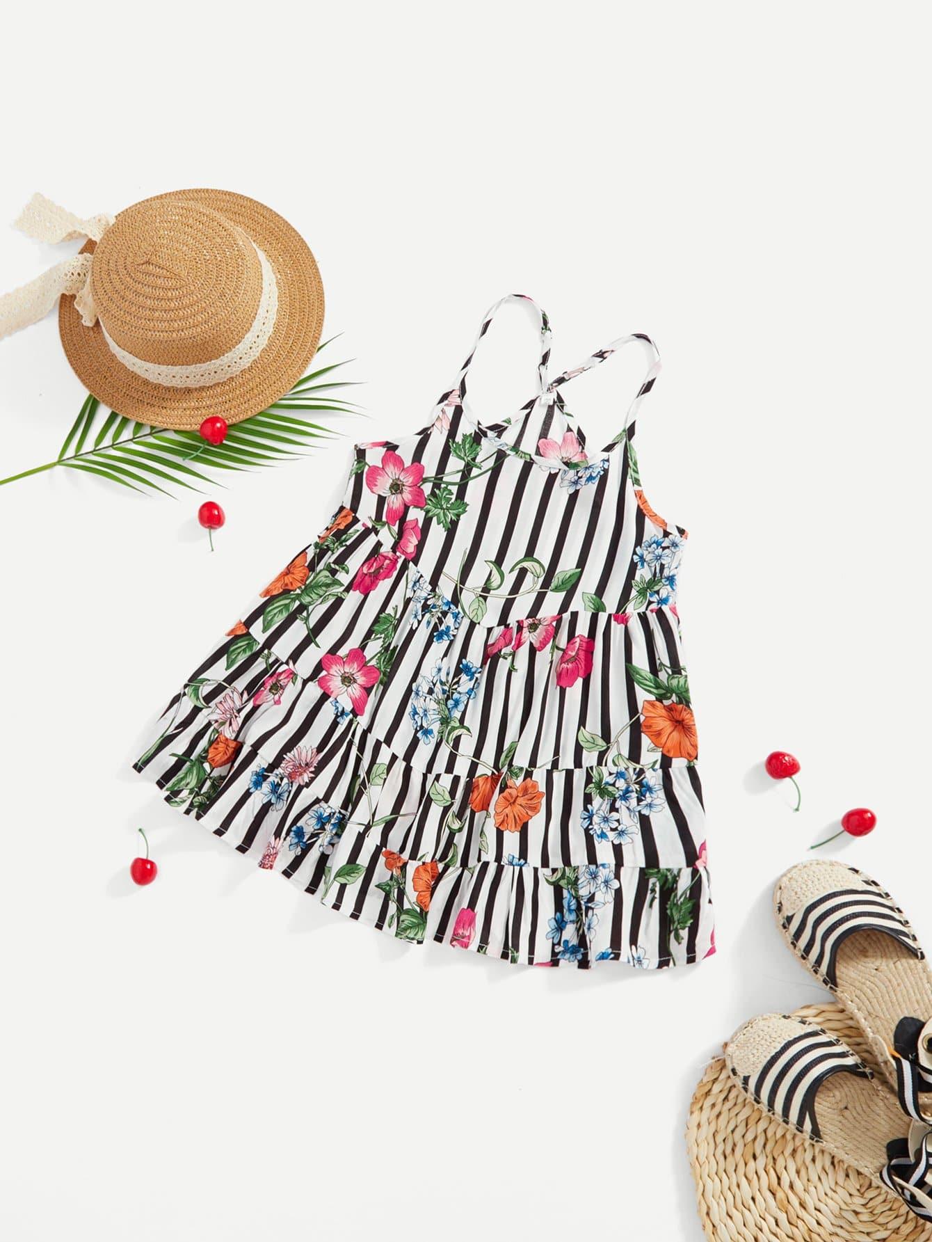Купить Платье с принтом полоски и цветы, null, SheIn