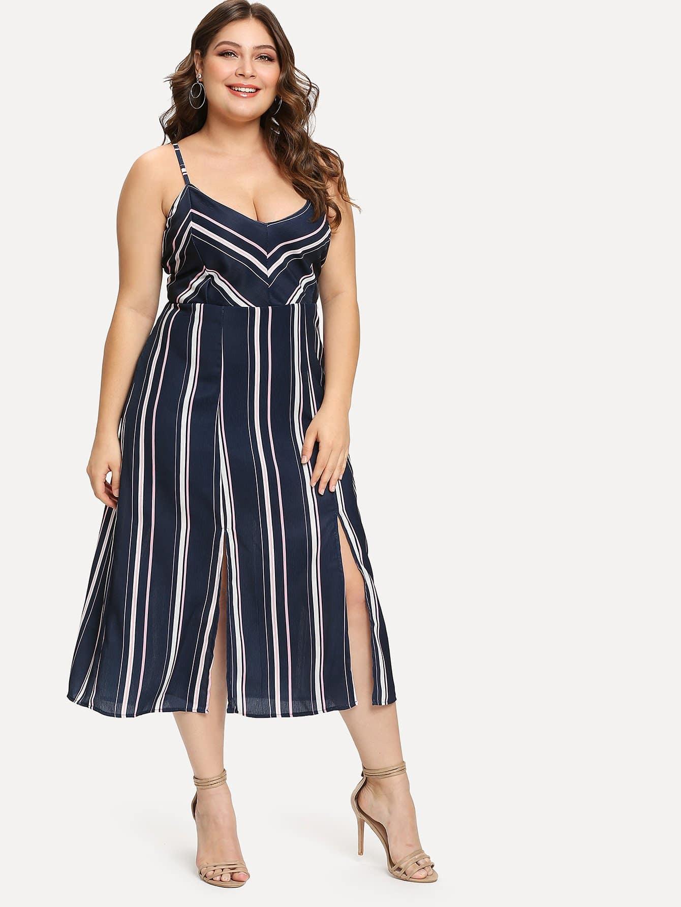 Купить Платье с полосками и v-образным воротником, Carol, SheIn