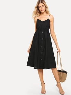 Cutout Tie Back Buttoned Cami Dress