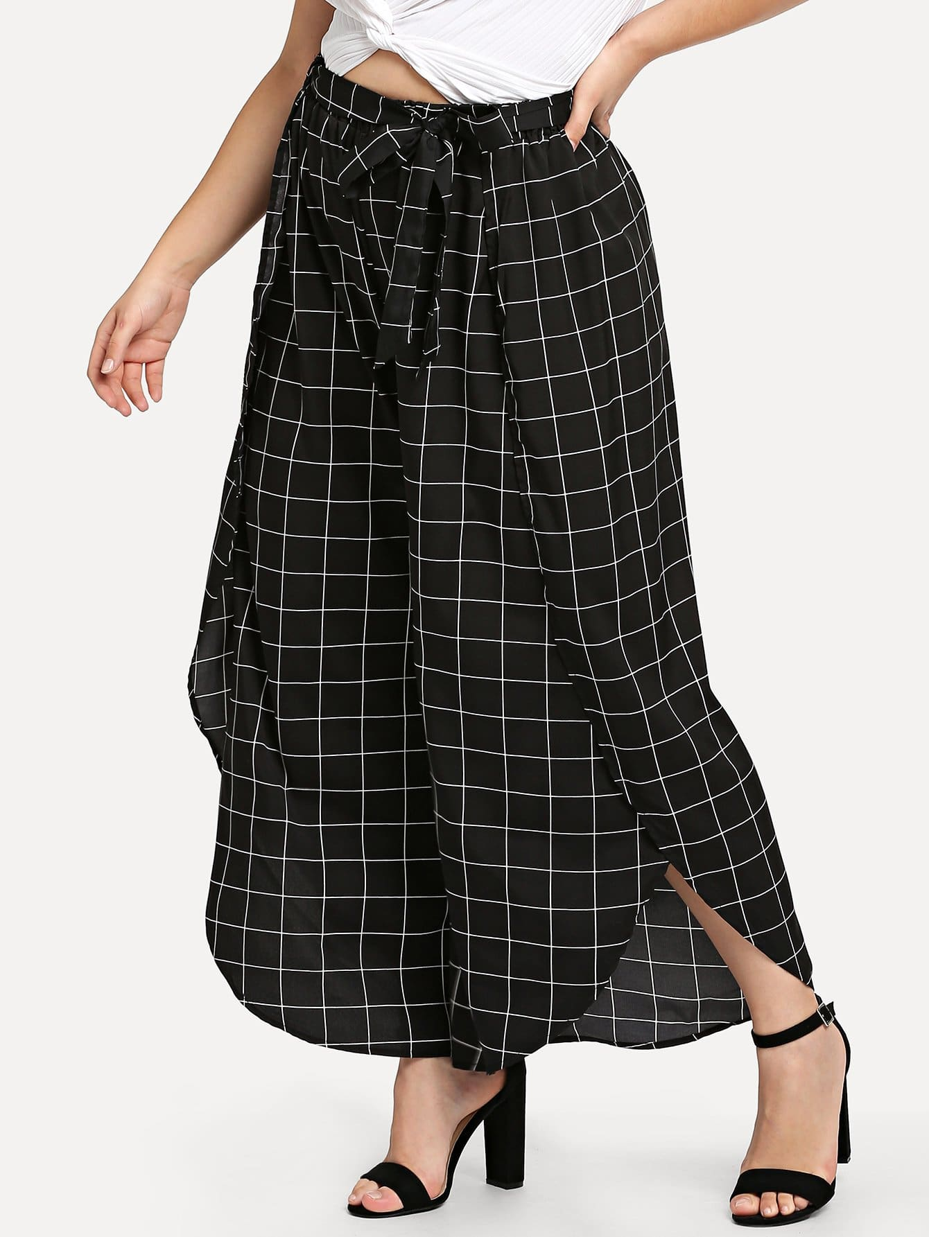 Grid Print Wide Leg Wrap Pants wide leg grid crop pants