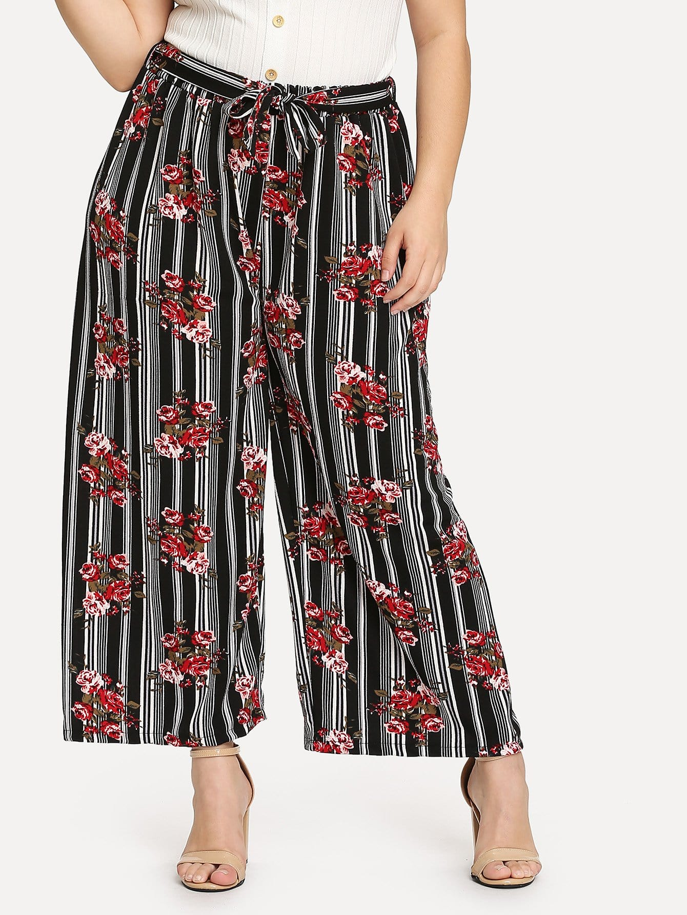 Self Belted Floral & Striped Palazzo Pants self belted skirt palazzo pants