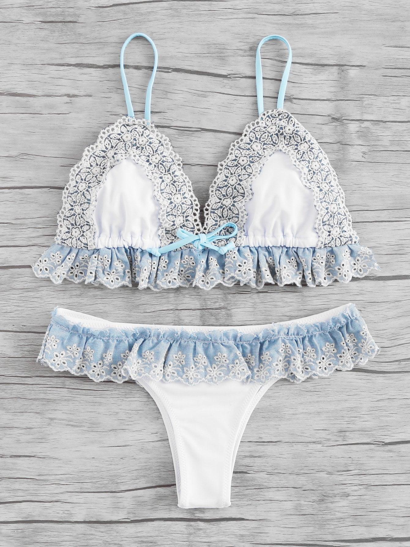 Фото Lace Crochet Trim Ruffle Detail Bikini Set checker knot bikini set