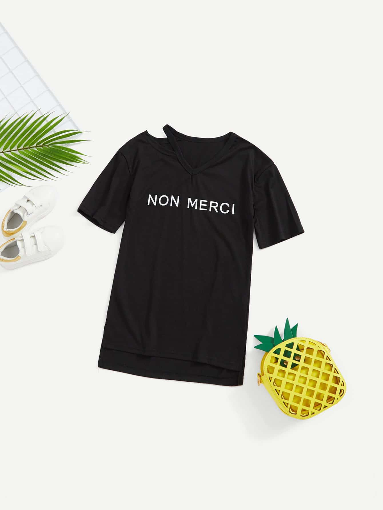 Cut Out V Neck Letter Print Tee pineapple print cut out neck tee