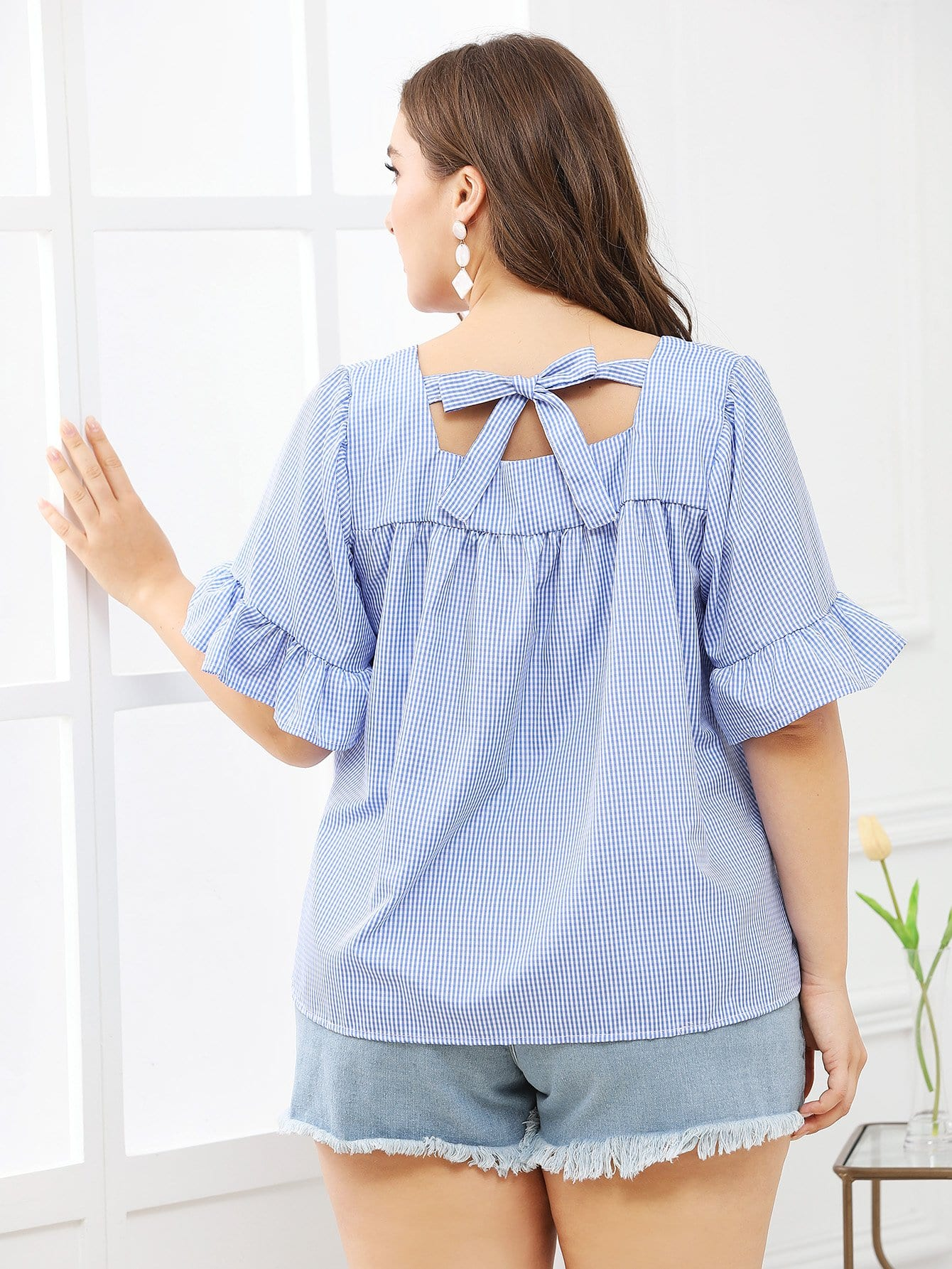 Плед Flouse Sleeve Knot Back Blouse