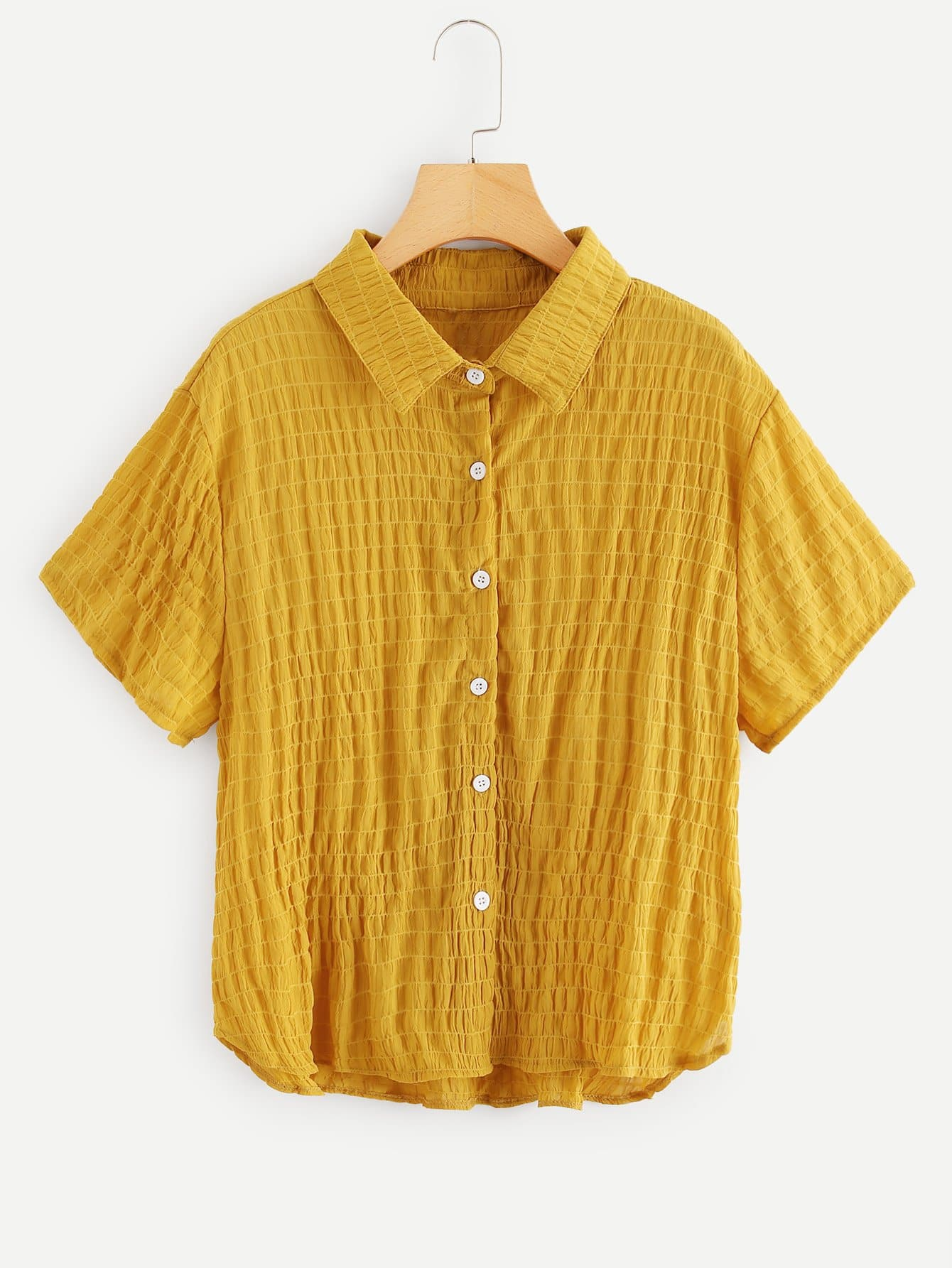 Plus Pleated Button Collar Blouse pleated button collar blouse