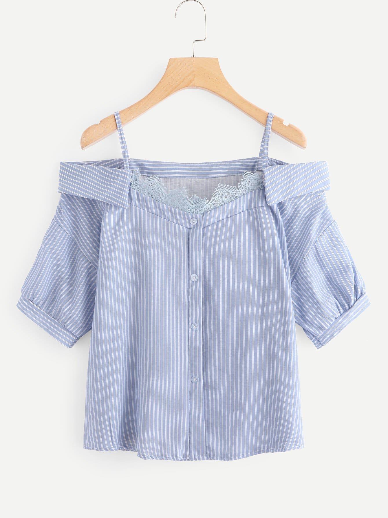 Open Shoulder Lace Panel Striped Blouse